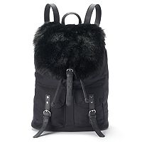 Candie's® Faux Fur Flap Drawstring Backpack