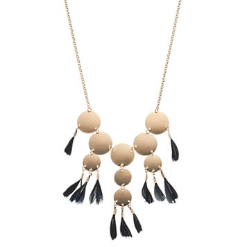 Black Tassel Disc Necklace