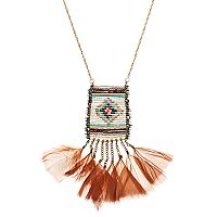 Long Beaded Tribal Feather Fringe Necklace