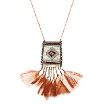 Long Beaded Tribal Feather Fringe Necklace