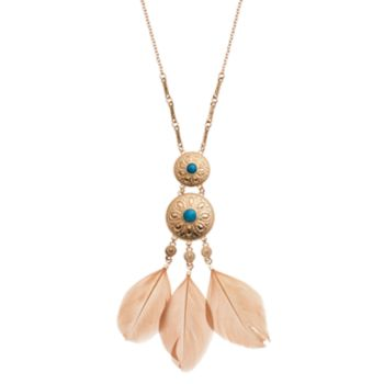Simulated Turquoise Medallion Feather Necklace