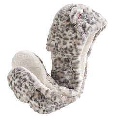 Girls 4-16 Fuzzy Leopard Print Critter Hood with 3D Ears