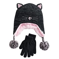 Girls 4-16 SO® Faux-Fur Lined 3D Cat Hat & Gloves Set