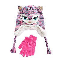 Girls 4-16 SO® Faux-Fur Lined 3D Fox Hat & Gloves Set