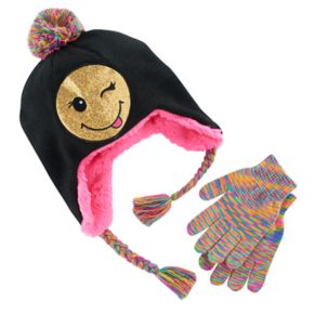 Girls 4-16 Faux-Fur Sequin Emoji Hat & Space-Dyed Gloves Set