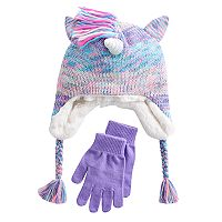 Girls 4-16 SO® Faux-Fur Lined 3D Unicorn Hat & Gloves Set