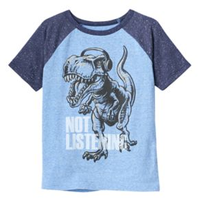 """Boys 4-10 Jumping Beans® Dinosaur with Headphones """"Not Listening"""" Graphic Tee"""