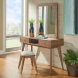 HomeVance Skagen Vanity, Mirror & Stool 3-piece Set