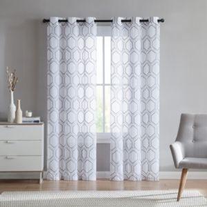 VCNY Home 2-pack Empire Embroidered Sheer Curtain