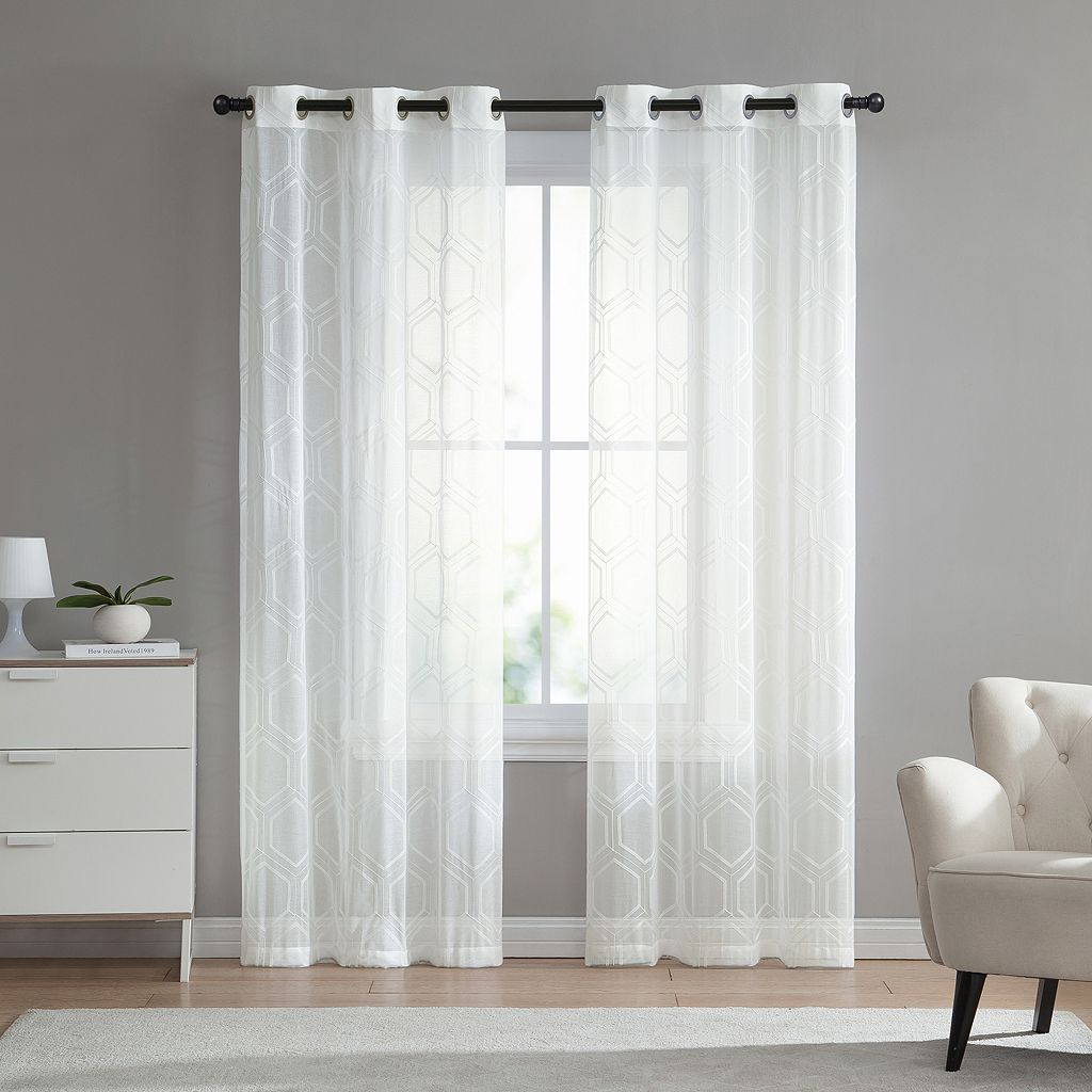 VCNY 2-pack Empire Embroidered Sheer Window Curtains