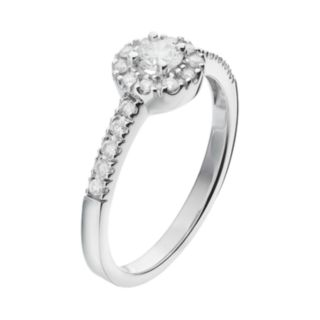 Round-Cut Certified Diamond Frame Engagement Ring in 14k White Gold (1/2 ct. T.W.)