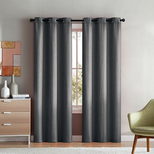 VCNY 2-pack Mason Check Solid Window Curtains