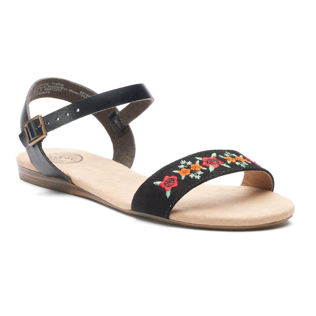 SO® Women's Embroidered Quarter Strap Sandals