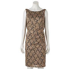 Women's Scarlett Metallic Draped Scoopback Sheath Dress