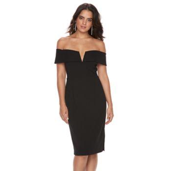 Women's Scarlett Black Off-the-Shoulder Sheath Dress