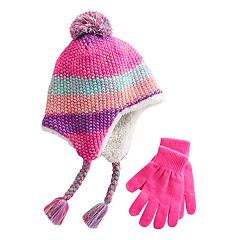 Girls 4-16 SO® Space-Dyed Earflap Hat & Gloves Set