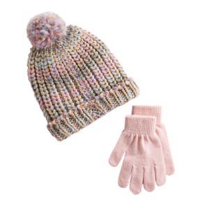 Girls 4-16 SO® Space-Dyed Pom Beanie & Gloves Set