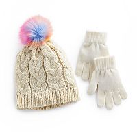 Girls 4-16 SO® Metallic Cable Knit Hat with Rainbow Faux-Fur Pom-Pom Top & Gloves Set