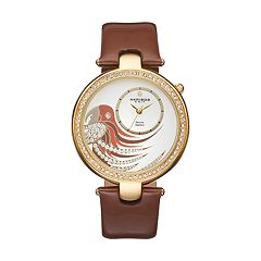 Akribos XXIV Women's Empire Diamond Parrot Leather Swiss Watch