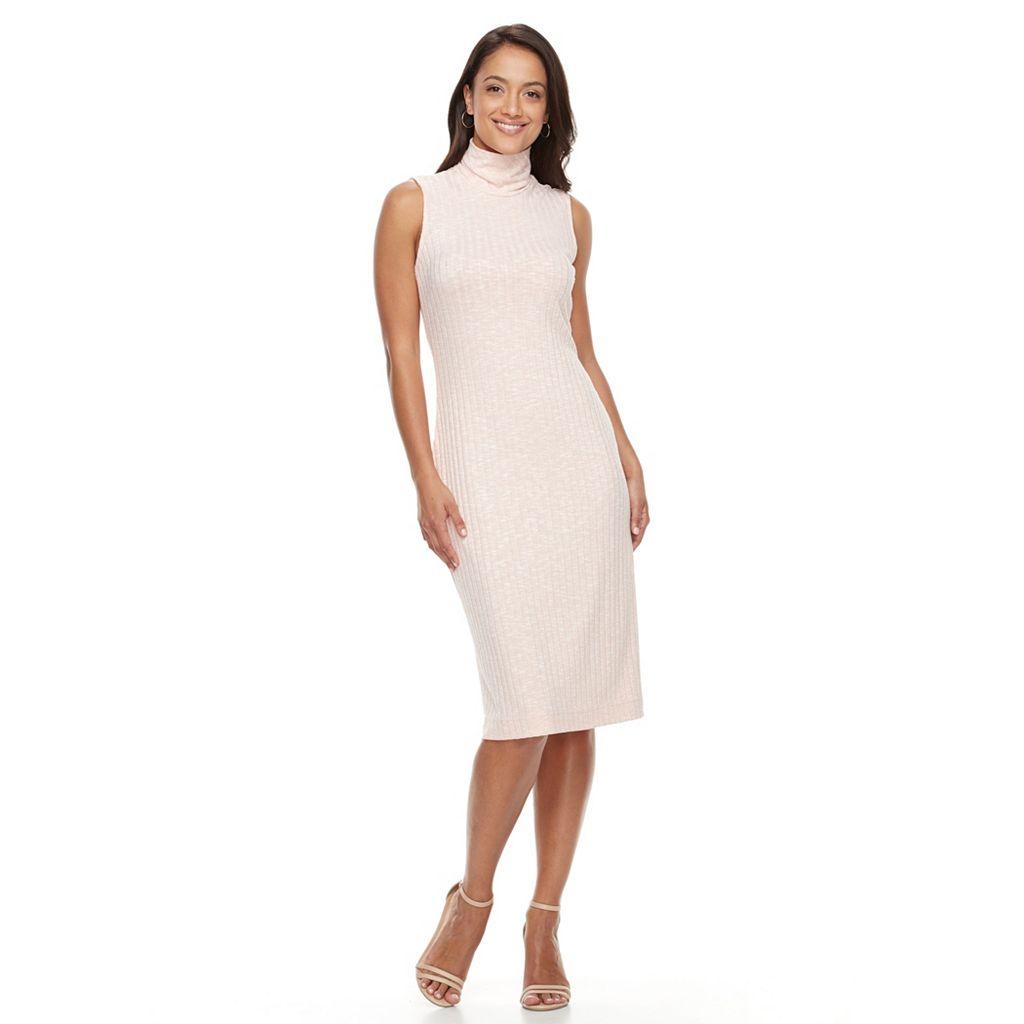 Women's Sharagano Sleeveless Ribbed Turtleneck Dress
