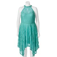 Juniors' Plus Size Wrapper Lace Handkerchief Hem Dress
