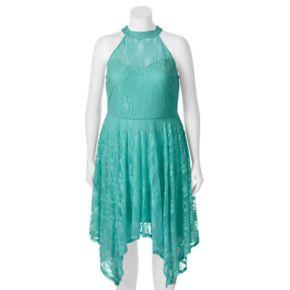 Juniors' Plus Size Wrapper Lace Handkerchief Hem Dress