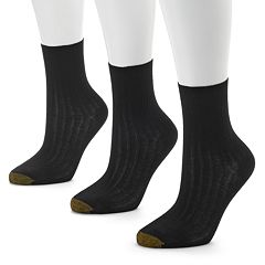 GOLDTOE 3-pk. Non-Binding Ribbed Crew Socks - Women