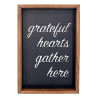 """New View """"Grateful Hearts Gather Here"""" Metal Cut-Out Framed Wall Art"""