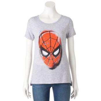 Juniors' Marvel Spiderman Split Hem Graphic Tee