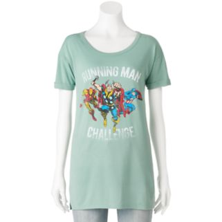 "Juniors' Marvel Avengers ""Running Man Challenge"" Graphic Tee"