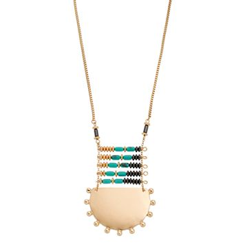 Long Beaded Ladder Semicircle Necklace
