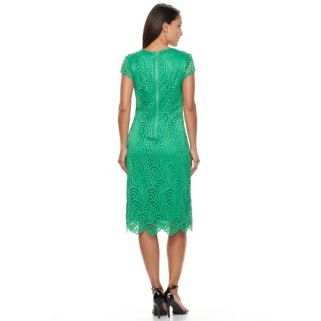 Women's Sharagano Lace Scalloped Hem Dress