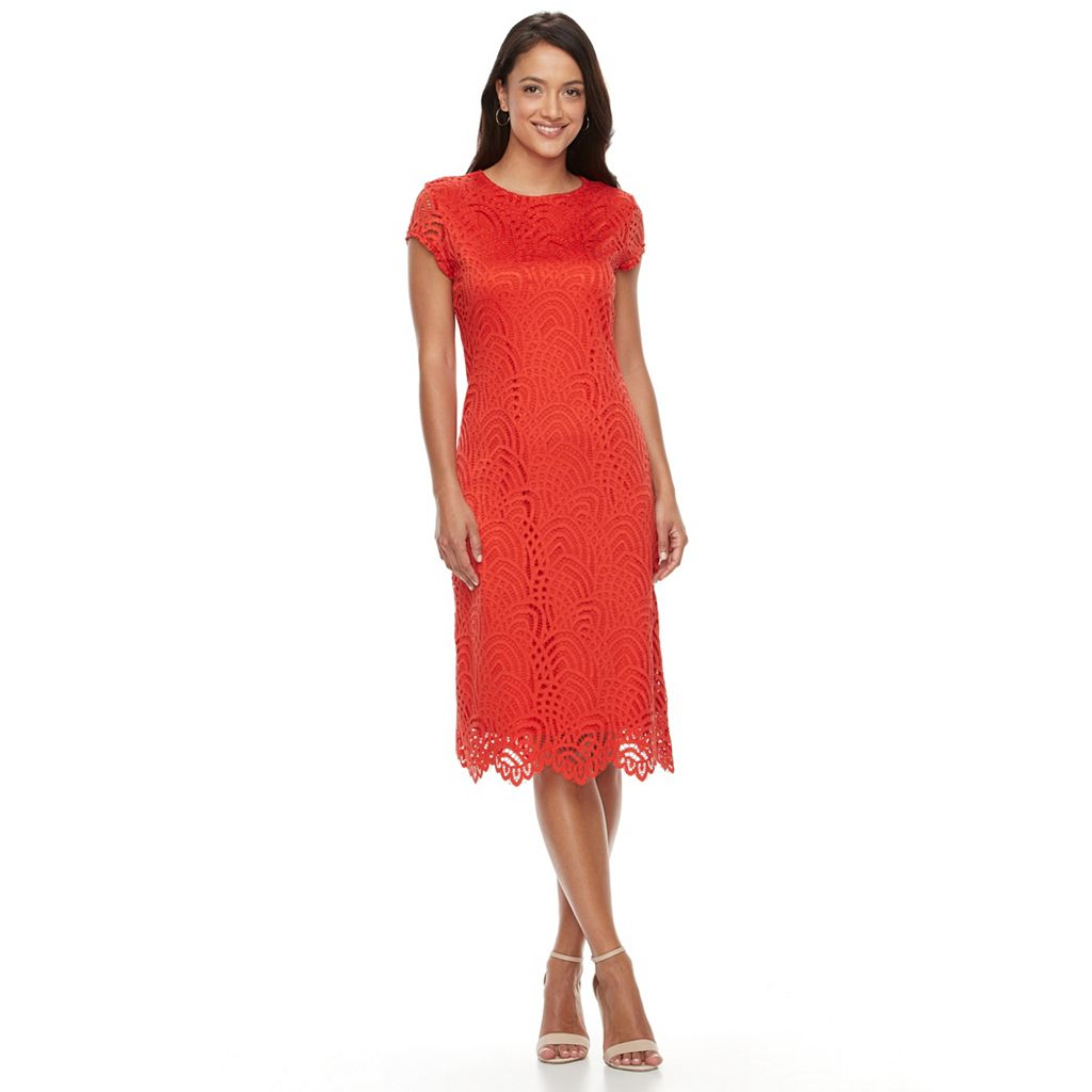 Women's Sharagano Lace Scalloped Hem Dress