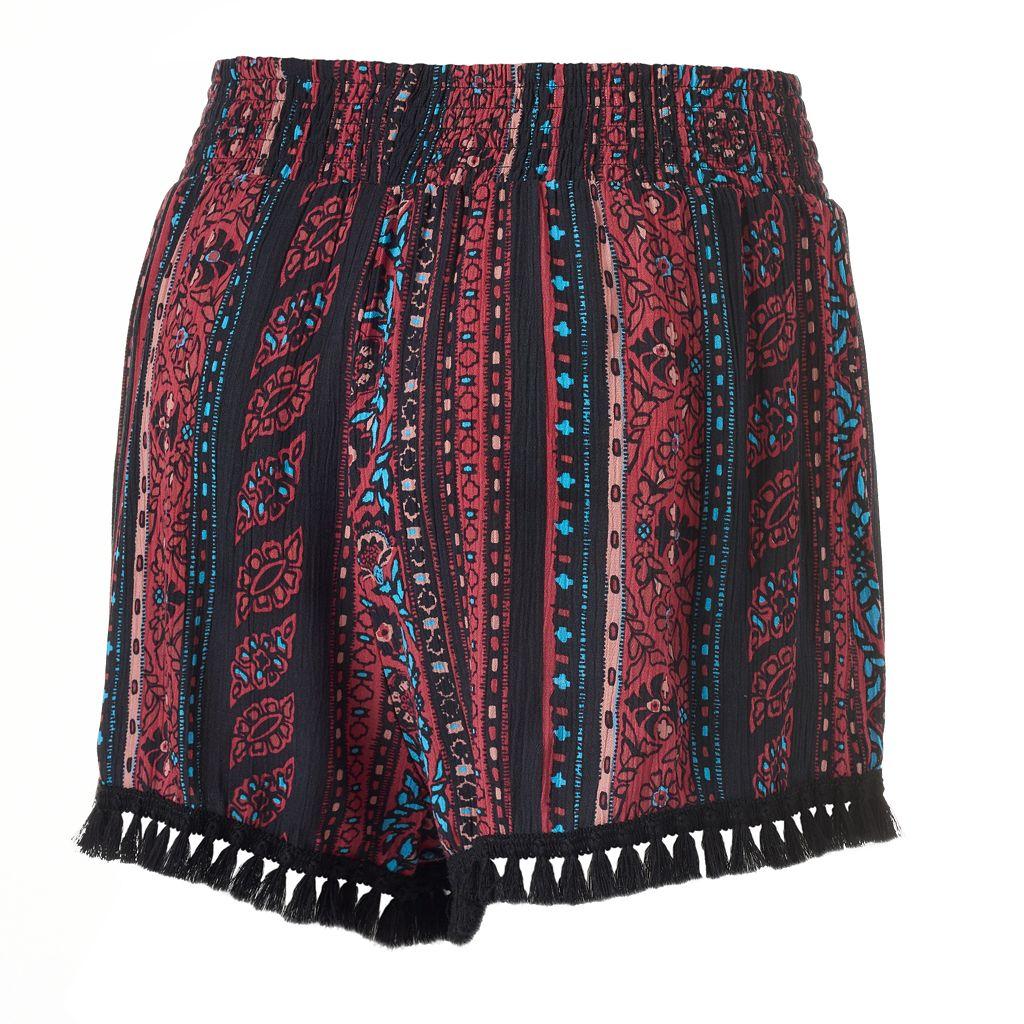 Juniors' Mudd® Print Tassel Hem Soft Shorts