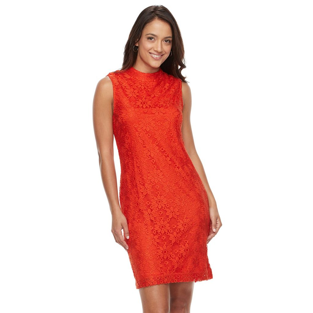 Women's Sharagano Sleeveless Floral Lace Dress