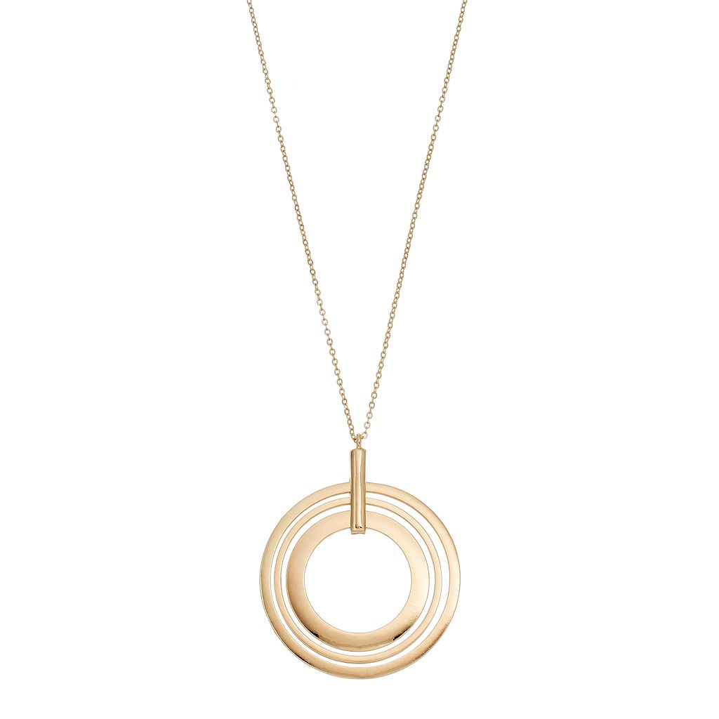 Long Concentric Hoop Pendant Necklace