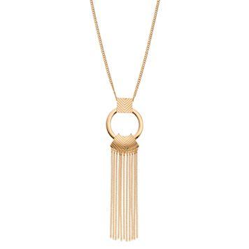 Long Circle Fringe Pendant Necklace