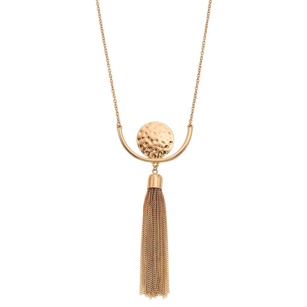 Long Hammered Disc Tassel Necklace
