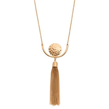 Long Hammered Disc Tassel Necklace