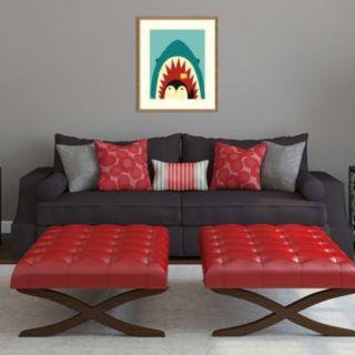 "Amanti Art ""Hi!"" Penguin & Shark Framed Wall Art"