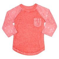 Girls Plus Size Harper & Elliott Lace Raglan Tee