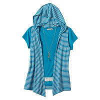 Girls Plus Size Speechless Crochet Tee, Hooded Vest & Necklace Set