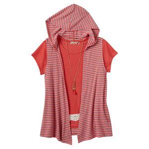 Girls Plus Size Speechless Crochet Tee, Hooded Vest & Necklace Set
