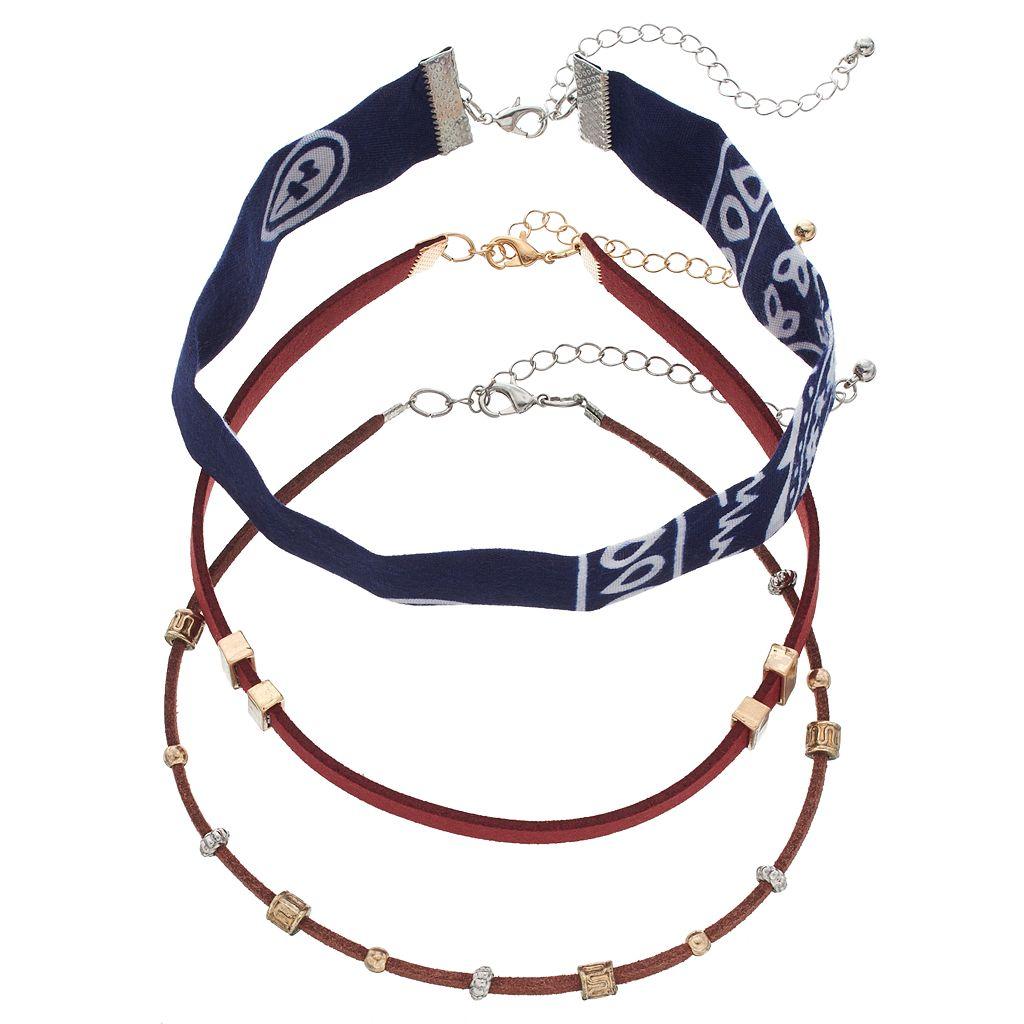 Mudd® Bandana & Faux Suede Choker Necklace Set