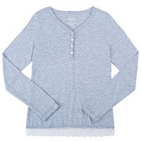 Girls Plus Size French Toast Scalloped Lace Henley