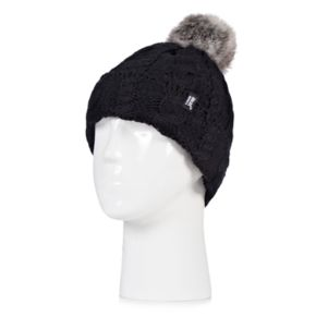 Women's Heat Holders Cable Knit Rolled Pom Pom Beanie