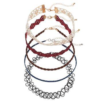 Mudd® Star Denim, Open Floral & Tattoo Choker Necklace Set