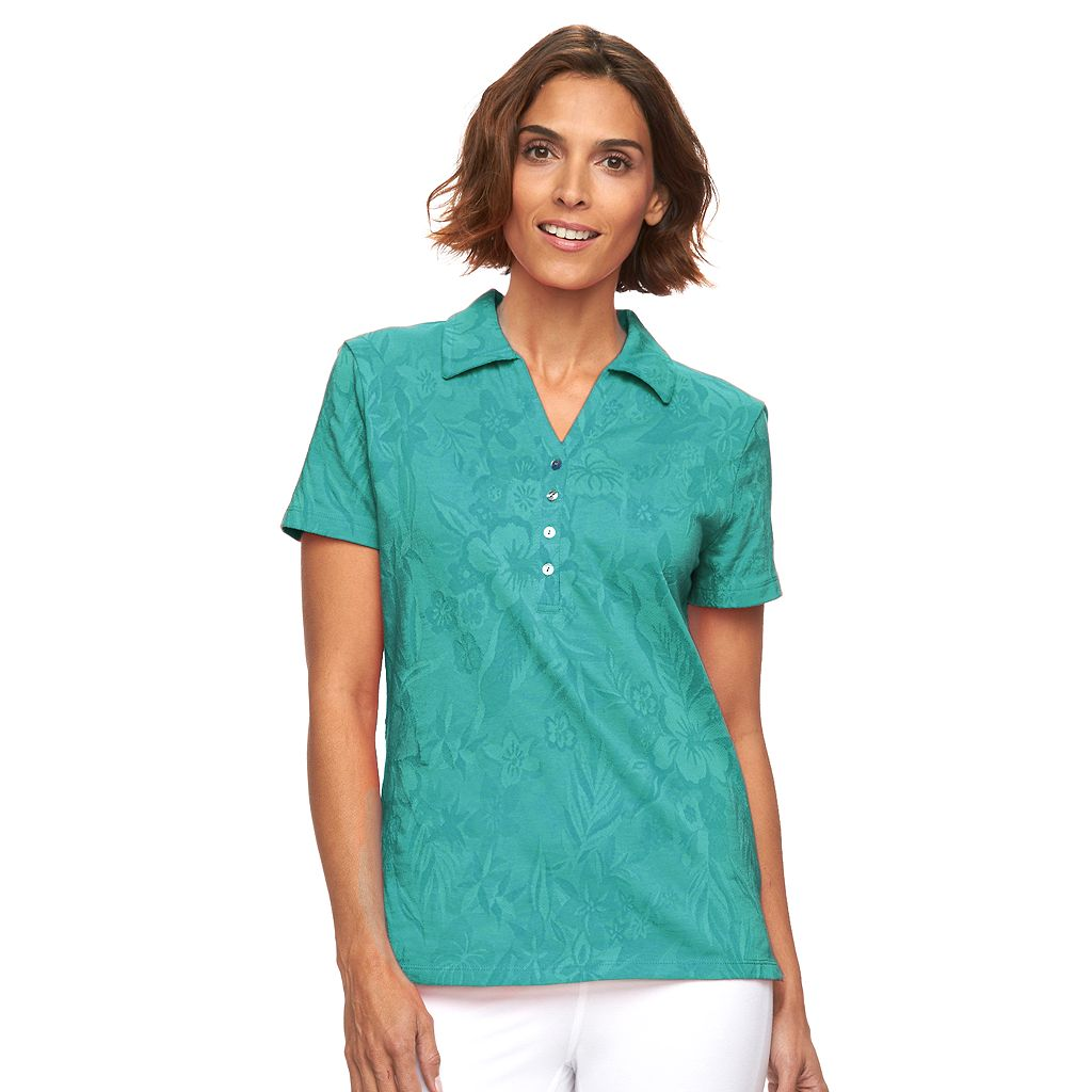 Women's Caribbean Joe Jacquard Polo