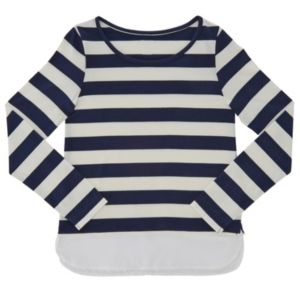 Girls Plus Size French Toast Striped Long-Sleeve Top
