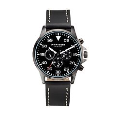 Akribos XXIV Men's Leather Swiss Watch